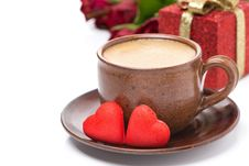 Free Cup Of Coffee, Red Candy, Gift For Valentine S Day Stock Photo - 35716060