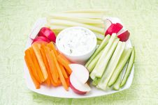 Free Sauce With Feta Cheese And Assorted Vegetables On A Plate Stock Image - 35716291