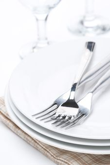 Free Tableware For Dinner, Plates, Forks And Glasses, Selective Focus Royalty Free Stock Photos - 35716378