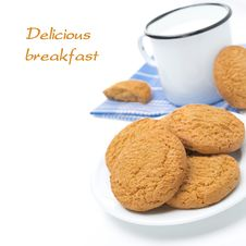 Free Plate Of Oatmeal Cookies And Mug Of Milk Isolated, Close-up Stock Photography - 35716762