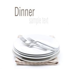 Free Tableware For Dinner - Plates And Forks, Isolated Royalty Free Stock Photo - 35716825