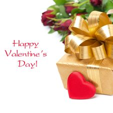 Free Golden Gift Box, Red Heart And Flowers, Isolated Royalty Free Stock Images - 35717039