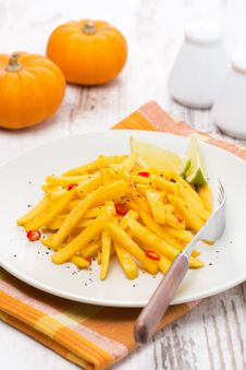 Roasted Pumpkin With Lime And Chilli, Vertical Stock Photography