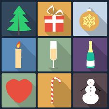 Free Christmas Flat Icons Royalty Free Stock Photography - 35719827