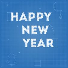 Card Of New Year Blueprint Drawing Royalty Free Stock Photography