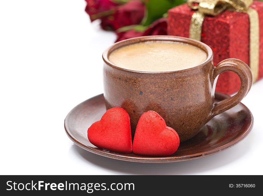 Cup of coffee, red candy, gift for Valentine s Day