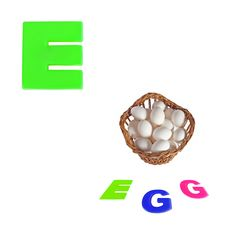 Free Illustrated Alphabet Letter E And Eggs On White Stock Images - 35720634