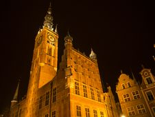Town Hall In Gdansk By Night. Stock Photo