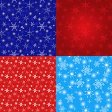 Free Seamless Christmas Pattern With Snowflakes And Sta Stock Image - 35758651