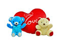 Free Blue And Cream Colour Bears With Red Heart Pillow Stock Photos - 35765773