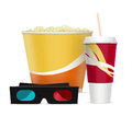 Free 3d Glasses With Popcorn And Soda Drink Royalty Free Stock Photo - 35768855
