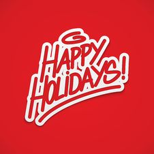 Free Happy Holidays Label Lettering Stock Photography - 35761782