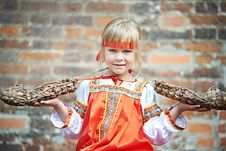Free Little Girl In National Costumes With Bast Stock Photography - 35762402