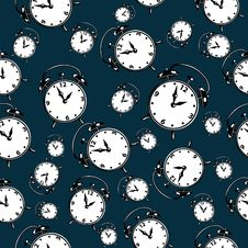 Free Clocks Over Blue. Seamless Background. Royalty Free Stock Photos - 35762548