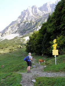 Free Hiker At A Crossroads Stock Images - 35763754