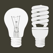 Incandescent And Fluorescent Energy Saving Light Bulbs Stock Images