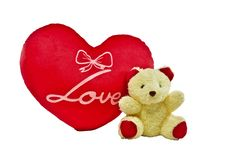 Free Cream Colour Bear And Red Heart Pillow With Love Word Royalty Free Stock Photography - 35765767