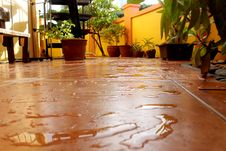 Wet Tiled Patio Royalty Free Stock Photo