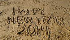 Free Happy New Year 2014 On Beach Stock Photos - 35769243