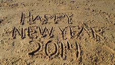 Free Happy New Year 2014 On Beach Stock Photos - 35769243