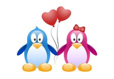 Free Two Penguins With Red Balloons Royalty Free Stock Photo - 35771855