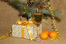 Free A Glass Of Champagne, Tangerines And Present For The New Year Stock Images - 35772304
