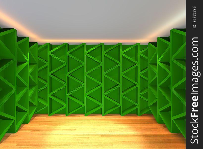 Abstract color green wall interior design