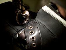 Footwear Stitching Machine Stock Photo