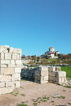 The Ruins Of The Ancient City Of In Chersonese Royalty Free Stock Images