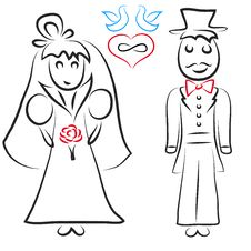 Free Silhouette Of Bride And Groom Stock Photography - 35795812