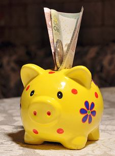 Free Piggy Bank With A Coin Stuck Stock Images - 35799234