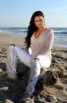 Beautiful Woman At The Beach Stock Photos