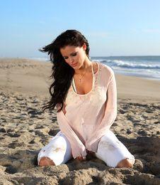 Free Beautiful Woman On The Beach Royalty Free Stock Image - 3580266