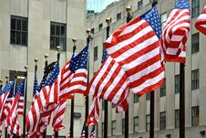 A Row Of American Flags Stock Photo