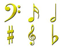 Free Gold Musical Symbols Stock Images - 3581114