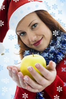 Free Beautiful Woman With Apple Stock Photography - 3581152