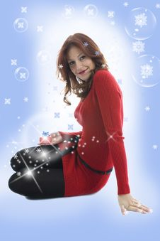 Free Beautiful Woman With Gift Stock Photography - 3581362