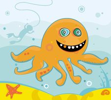 Free Cute Friendly Octopus Stock Image - 3582481