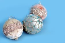 Free Ornaments On Blue Royalty Free Stock Images - 3584639