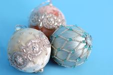 Free Ornaments On Blue Royalty Free Stock Photos - 3584648