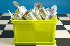 Free Bin Full Up With Tins Stock Photography - 3589112