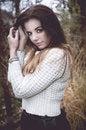 Free Beautiful Brunette Woman In White Sweater Stock Image - 35809051