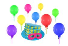 Free Colorful Balloons And Hat With Mask Royalty Free Stock Images - 35807269