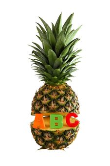 Free Pineapple With Letters Abc Isolated Stock Images - 35807594