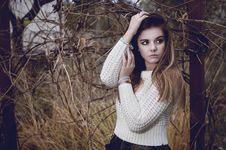 Beautiful Brunette Woman In White Sweater Stock Images