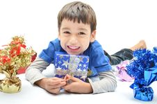 Free Little Boy Happy With New Year Gift Stock Photo - 35814220
