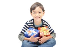 Free Little Boy Happy With Gift Box Royalty Free Stock Image - 35814226