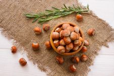 Free Hazelnuts, Filbert On Old Wooden Background Stock Photo - 35815160