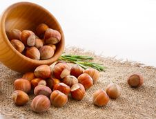 Free Hazelnuts, Filbert On Old Wooden Background Stock Photo - 35815220