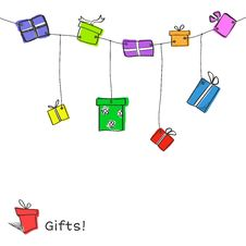 Free Sketch Gift Boxes Garland Royalty Free Stock Image - 35817156
